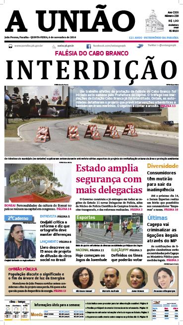 Capa A Uniao 06 11 14 - Jornal A União