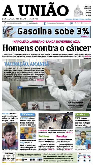 Capa A Uniao 07 11 14 - Jornal A União