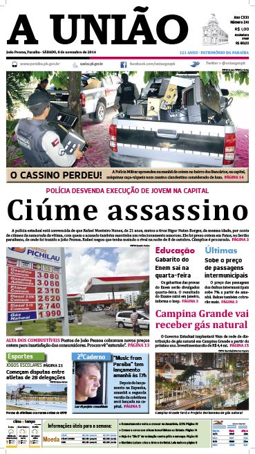 Capa A Uniao 08 11 14 - Jornal A União