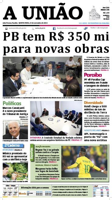 Capa A Uniao 13 11 14 - Jornal A União
