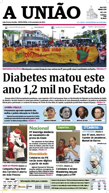 Capa A Uniao 14 11 14 - Jornal A União