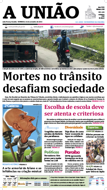 Capa A Uniao 16 11 14 - Jornal A União