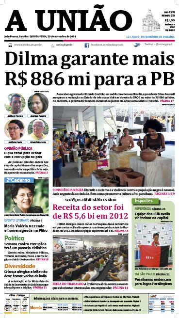 Capa A Uniao 20 11 14 - Jornal A União