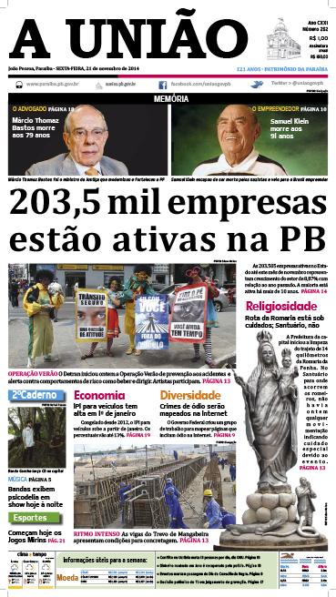 Capa A Uniao 21 11 14 - Jornal A União