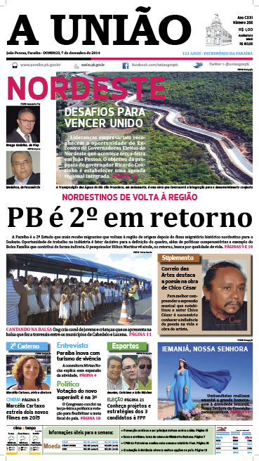 Capa A União 07 12 14 - Jornal A União