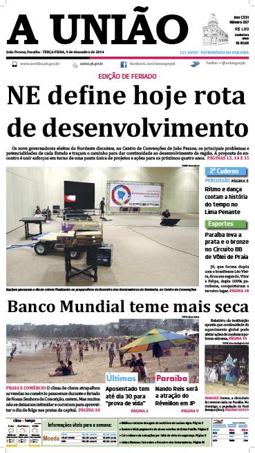 Capa A União 09 12 14 - Jornal A União