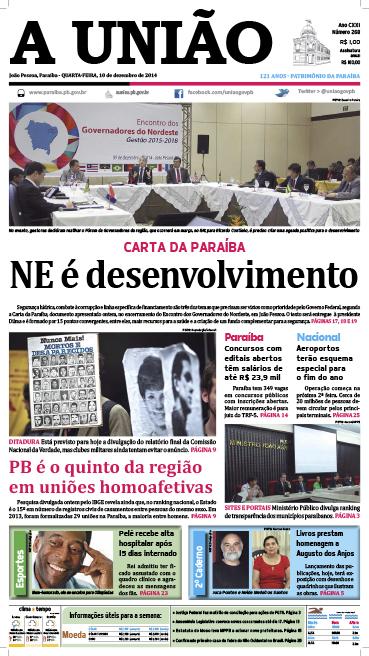 Capa A União 10 12 14 - Jornal A União