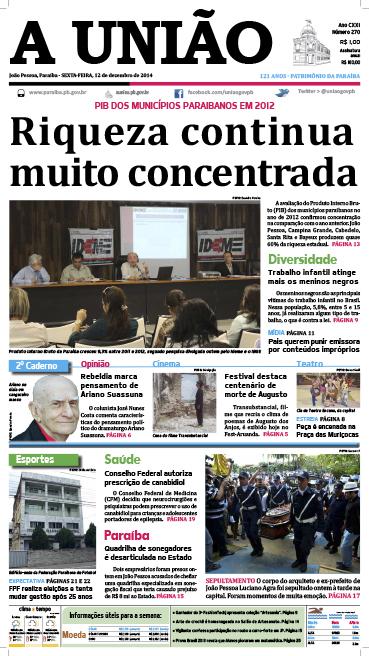 Capa A União 12 12 14 - Jornal A União
