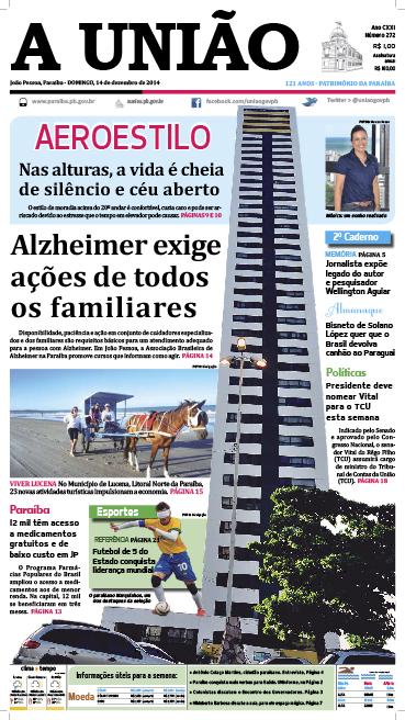 Capa A União 14 12 14 - Jornal A União