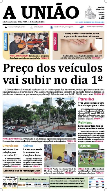 Capa A União 16 12 14 - Jornal A União