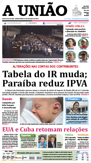 Capa A União 18 12 14 - Jornal A União