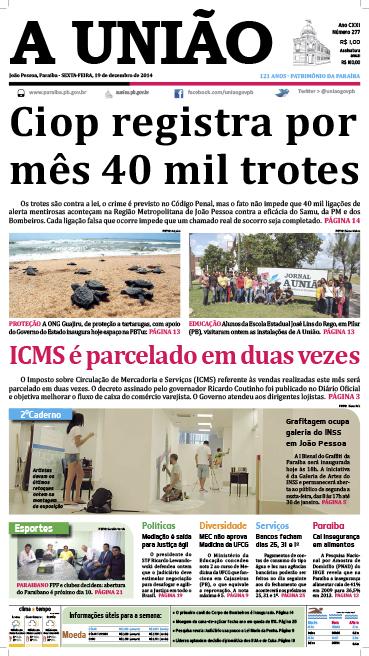 Capa A União 19 12 14 - Jornal A União