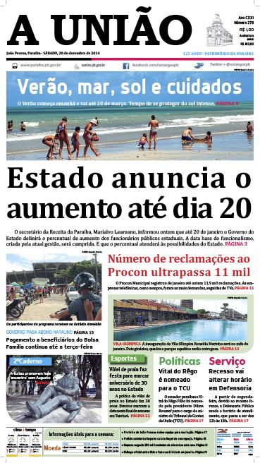 Capa A União 20 12 14 - Jornal A União