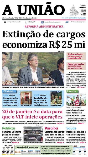 Capa A União 23 12 14 - Jornal A União