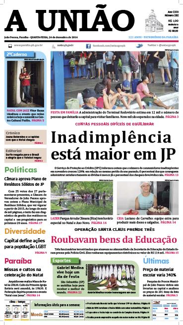 Capa A União 24 12 14 - Jornal A União