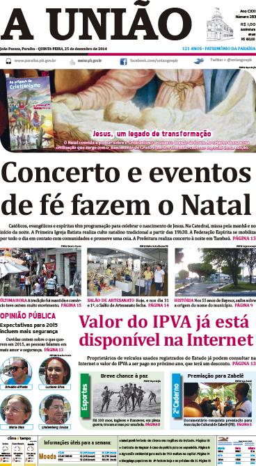 Capa A União 25 12 14 - Jornal A União