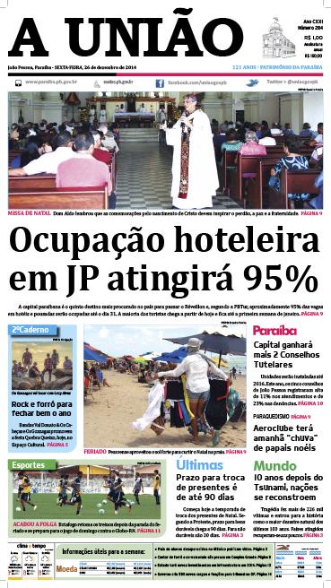 Capa A União 26 12 14 - Jornal A União