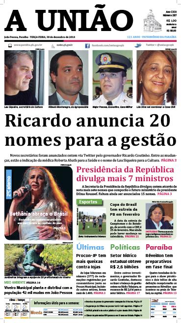 Capa A União 30 12 14 - Jornal A União