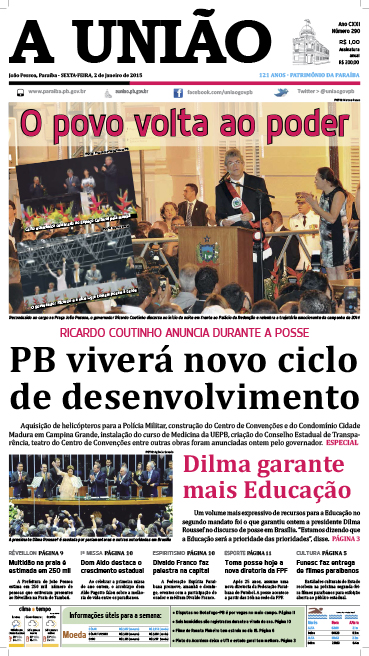 Capa A União 02 01 15 - Jornal A União