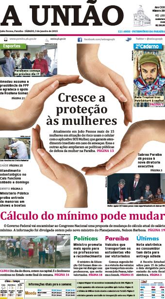 Capa A União 03 01 15 - Jornal A União