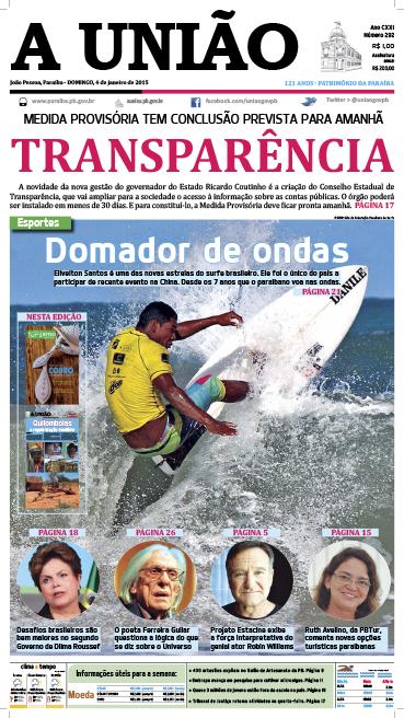 Capa A União 04 01 15 - Jornal A União