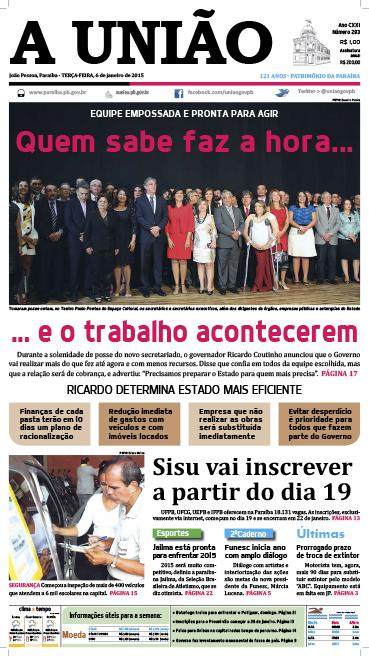 Capa A União 06 01 15 - Jornal A União
