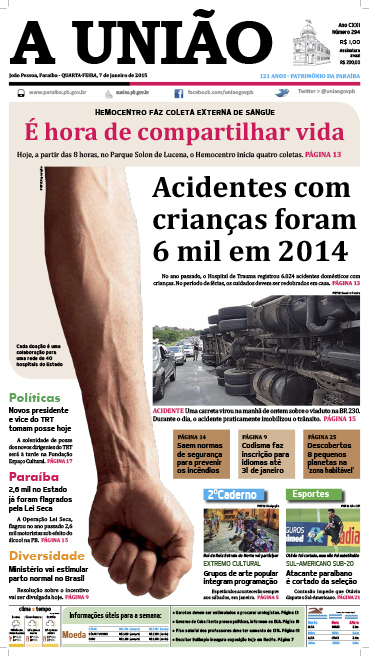 Capa A União 07 01 15 - Jornal A União