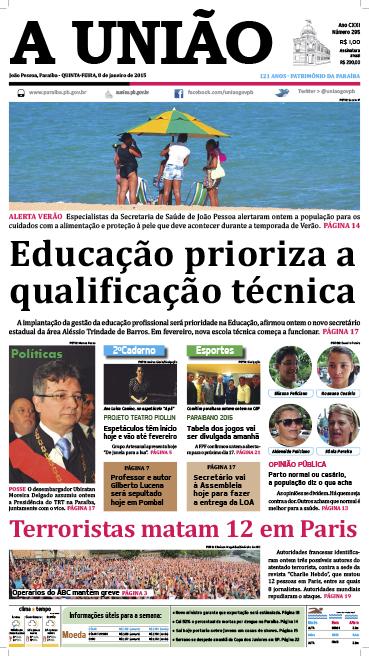 Capa A União 08 01 15 - Jornal A União
