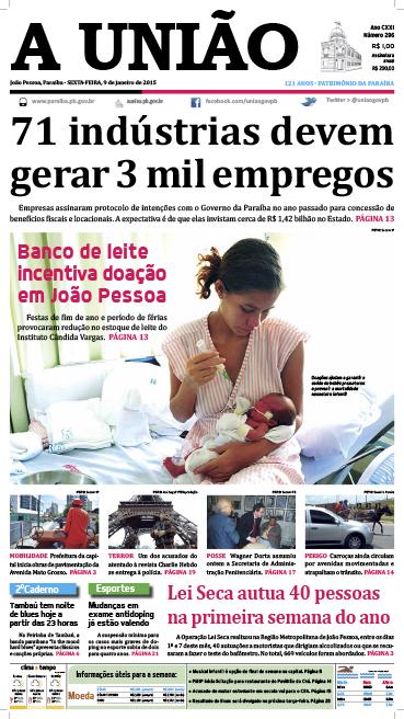 Capa A União 09 01 15 - Jornal A União