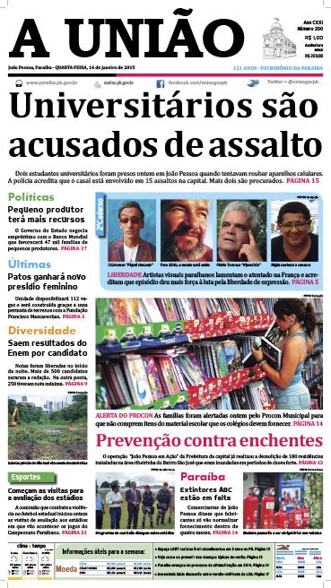 Capa A União 14 01 15 - Jornal A União