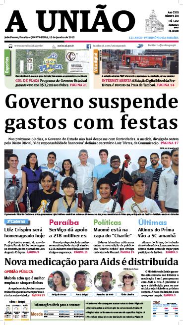 Capa A União 15 01 15 - Jornal A União