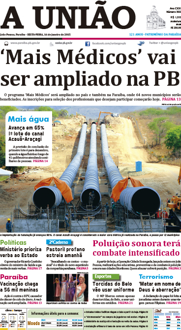 Capa A União 16 01 15 - Jornal A União