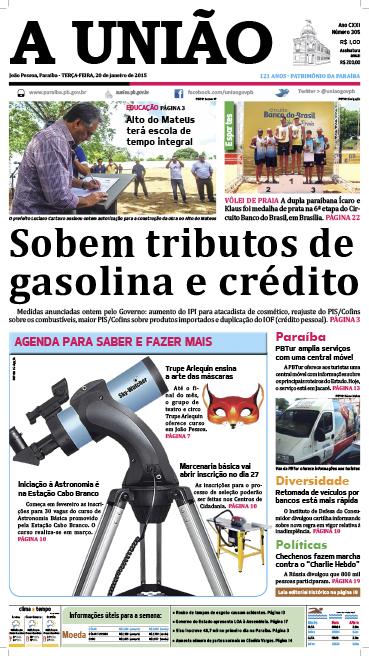 Capa A União 20 01 15 - Jornal A União