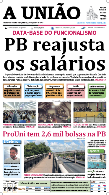 Capa A União 27 01 15 - Jornal A União