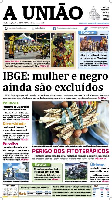 Capa A União 30 01 15 - Jornal A União