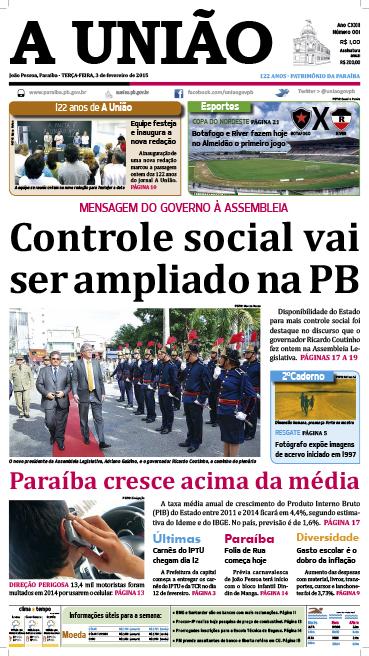 Capa A União 03 02 15 - Jornal A União