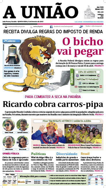 Capa A União 05 02 15 - Jornal A União