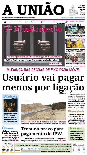 Capa A União 06 02 15 - Jornal A União