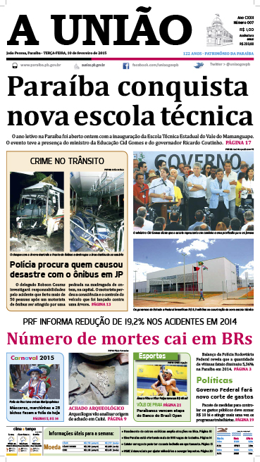 Capa A União 10 02 15 - Jornal A União