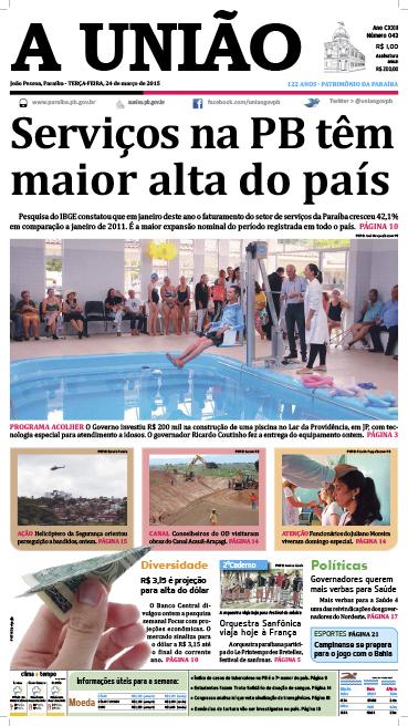 Capa A União 24 03 15 - Jornal A União