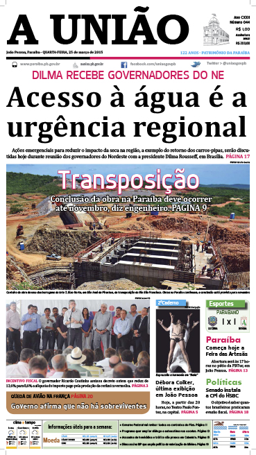 Capa A União 25 03 15 - Jornal A União