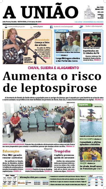 Capa A União 27 03 15 - Jornal A União