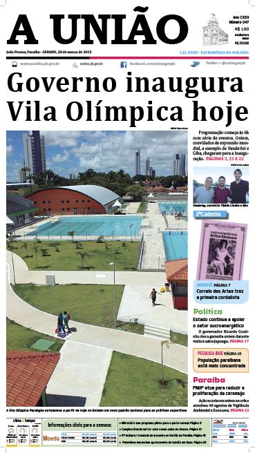 Capa A União 28 03 15 - Jornal A União