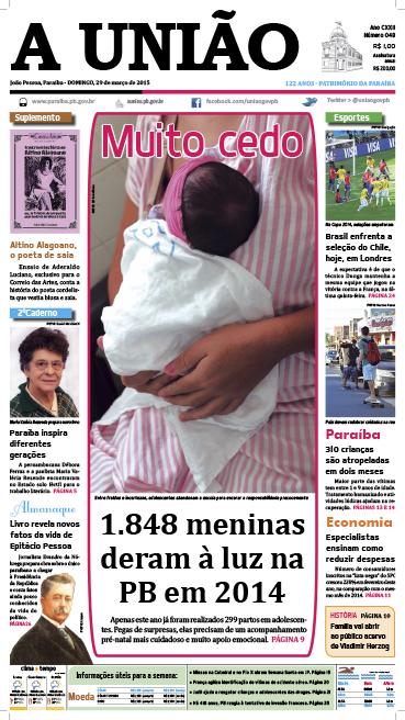 Capa A União 29 03 15 - Jornal A União