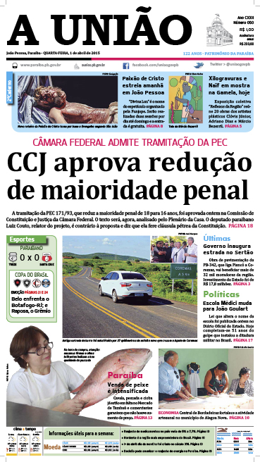 Capa A União 01 04 15 - Jornal A União