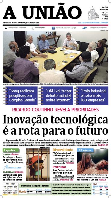 Capa A União 05 04 15 - Jornal A União