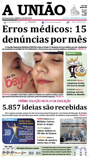 Capa A União 12 04 15 - Jornal A União