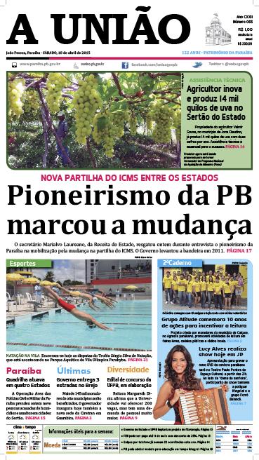 Capa A União 18 04 15 - Jornal A União