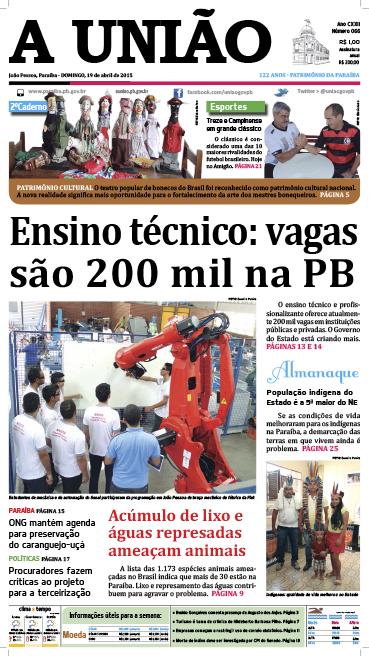 Capa A União 19 04 15 - Jornal A União