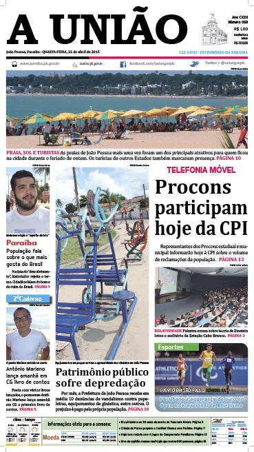 Capa A União 22 04 15 - Jornal A União